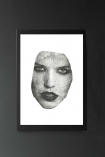 lifestyle image of Unframed Masked 2 VII Art Print By Amber Devetta woman's face on white background in black frame on dark wall background