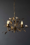 Antiqued Leaf & White Lily Chandelier