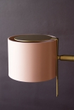 Close-up detail image of the shade on the Modern Gold Accent Table Lamp - Dusky Pink on dark wall background