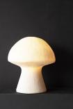 Image of the White Sandstone Mushroom Table Lamp lit up