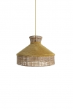 cutout Image of Gold Mustard Velvet & Rattan Pendant Ceiling Light on a white background