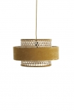 cutout Image of the Gold Mustard Woven Cane & Velvet Cylinder Pendant Ceiling Light on a white background