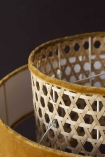 Close-up image of the cane detail on the Gold Mustard Woven Cane & Velvet Cylinder Pendant Ceiling Light