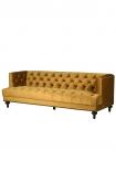 Cutout image of Ochre Gold Velvet Chesterfield Sofa on white background