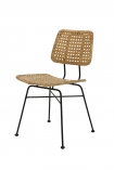 Image of the natural Modern Woven Rattan Dining Chair on a white background