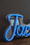 Close-up image of Jack LED Neon Light in blue switched off