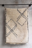 Original Moroccan Berber Bedside Rug - Medina With Single Fringe