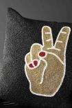 Peace Hand Glamorous Beaded Cushion - Black
