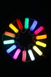 Image of all the colours available in the LED Neon Light switched on