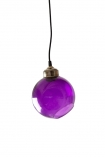 cutout image of Angled glass sphere pendant ceiling light in plum on white background