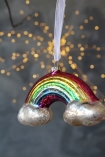 Image of the Rainbow Hanging Decoration on a grey sparkly background