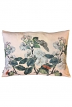cutout Apple blossom floral butterfly velvet cushion in nude pink on a white background