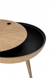 cutout Image of the Oak Curve Coffee Table With Removable Lid slightly off on a white background
