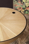 Close-up image of the Oak Curve Coffee Table with the lid on