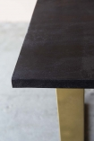 Black Mango Wood Dining Table With Gold Legs