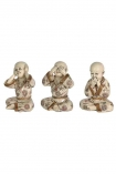cutout Image of the Set Of 3 See No Evil, Hear No Evil, Speak No Evil Monks on a white background