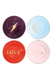 cutout Image of the Set Of 4 Love & Lightening Plates on a white background