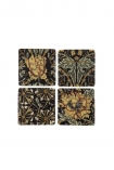 cutout Image of the Set Of 4 Vintage Style Floral Ceramic Coasters on a white background in a square