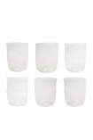 Clear set of 6 recycled glass water tumblers on a white background