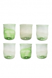 cutout image of Set of 6 recycled glass water tumblers in green on a white background