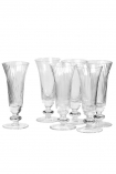 cutout Image of the Set Of 6 Ribbed Glass Champagne Flutes on a white background