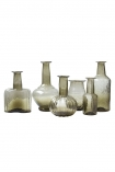 cutout image of All of the smoke recycled glass vases on a white background