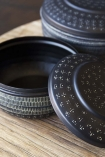 Set Of 2 Black Engraved Pots With Lids