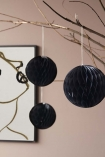 Set Of 3 Honeycomb Ball Hanging Decorations - Black