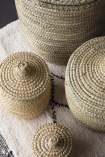 Set Of 4 Moroccan Wicker Baskets With Lids