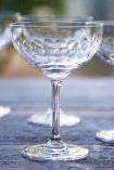 lifestyle image of Set Of 6 Vintage Style Crystal Champagne Saucers - Lens with other glasses in background on wooden table