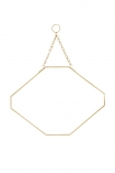 cutout Image of the Octagon Gold Hanging Bathroom Mirror on a white background