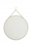 cutout Image of the Round Brass Hanging Bathroom Mirror on a white background