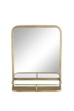 cutout Image of the Light Gold Almost Square Bathroom Mirror With Shelf on a white background
