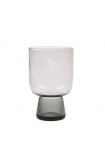 cutout Image of the Conical Stem Smoked Grey Engraved Bird Wine Glass on a white background