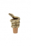 cutout Image of the Antique Gold Snake Bottle Stopper on a white background