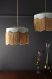 Lifestyle image two of the Bespoke Spearmint Silk Tiffany Lamp Shade with wavy fringed on pendant lights