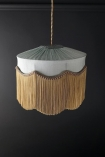 Image of the Bespoke Spearmint Silk Tiffany Lamp Shade with wavy fringe