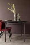 Front on lifestyle image of the Sungkai Wood Black Oval Dining Table with red dining chairs and vase with briarwood painted wall background and dark wooden flooring