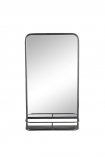 cutout Image of the Black Tall Bathroom Mirror With Shelf on a white background from front