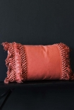 Image of the Paprika Tassel Cotton Cushion on a black background