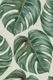detail image of Mind The Gap Tropical Leaf Wallpaper topical leaves on pale background repeated pattern