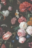 Close-up detail image of the twilight floral wall mural red pink and white roses on green and black background