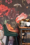 lifestyle image of the twilight wall mural at our rockett st george concession in Liberty London with velvet bar stools
