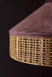 Close-up detail image of the rattan detail on the Burgundy Velvet & Rattan Pendant Ceiling Light on a dark wall background