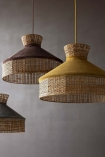 Lifestyle of all the colour versions available for the Velvet & Rattan Pendant Ceiling Light on pale grey wall background