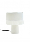 Image of the All Over Velvet Table Lamp With Fringe - Snow White on a white background