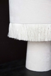 Close-up of the All Over Velvet Table Lamp With Fringe - Snow White