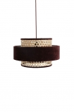 cutout Image of the Burgundy Woven Cane & Velvet Cylinder Pendant Ceiling Light on a white background