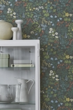 lifestyle image of BorasTapeter Scandinavian Designers II Wallpaper - Rabarber - 2 Colours Available with white glassware cabinet with white vases on top