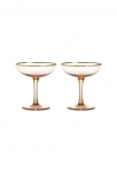 cutout image of Set Of 2 Rose Pink & Gold Champagne Coupe on white background